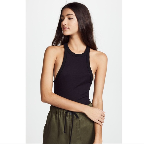 9ccf3e32f517a Free People Black High Neck Wide Eyed Tank Top L